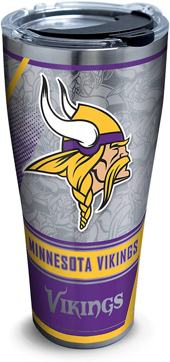 Tervis 1266663 NFL Minnesota Vikings Edge Stainless Steel Tumbler with Clear and Black Hammer Lid 30 oz Stainless Steel Silver