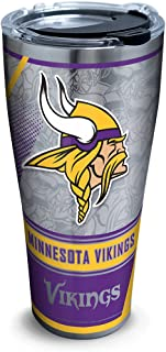 Tervis 1266663 NFL Minnesota Vikings Edge Stainless Steel Tumbler with Clear and Black Hammer Lid 30oz, Silver