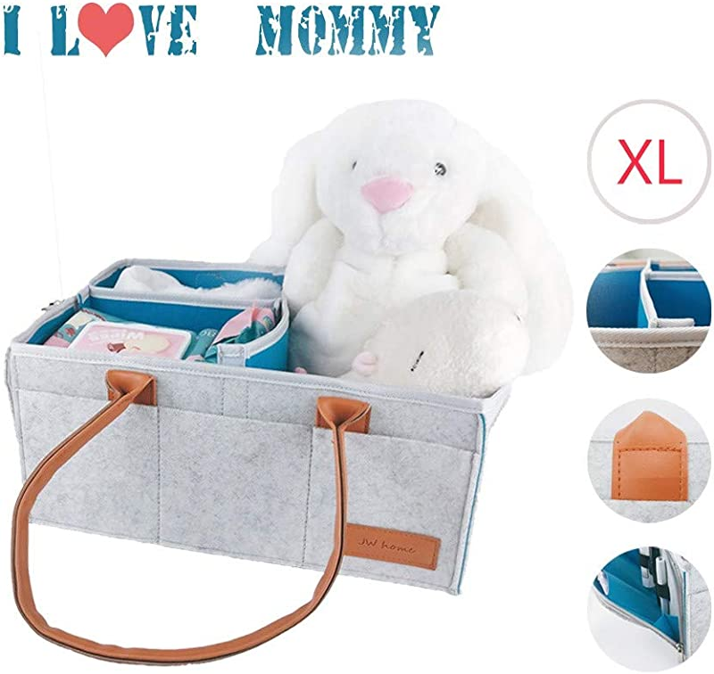 Baby Diaper Caddy Organizer Washable Nursery Storage Basket And Car Travel Bag Tote Best Baby Shower Gift 8 Outer Pockets And 1 Zipper Pocket