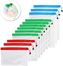 BESTONZON 12pcs Reusable Mesh Produce Bags Washable Eco Friendly Food Bags for Grocery Shopping Storage Fruit Vegetable Toys