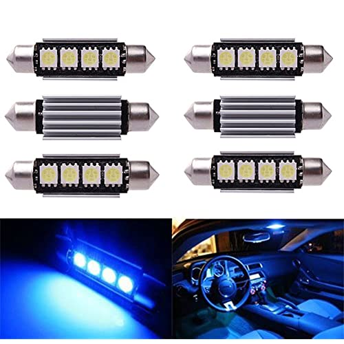 Inlink 6pcs BLUE Error Free Festoon canbus 4SMD 5050 42mm LED Car led License Plate Light Festoon led Bulb festoon dome lamp DC 12V