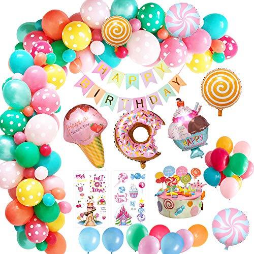 MMTX Decorazioni per Feste di Compleanno Candyland, Palloncini Compleanno con Banner di Buon Compleanno, Palloncino Foil Gelato Ciambella Candy per Ragazze Bambini Donna Candyland Lollipop Party