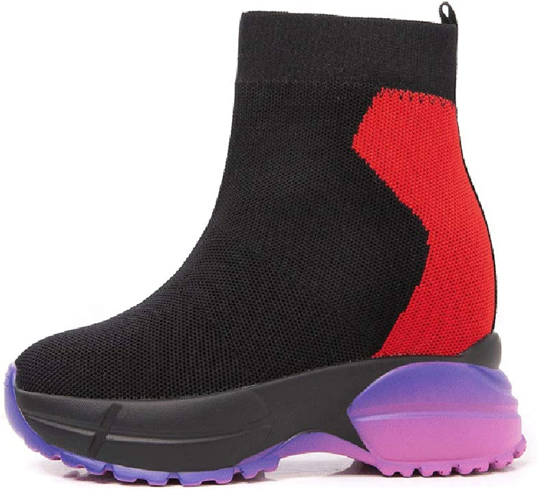 YAN Damen Stiefel Mesh Frühling Herbst unsichtbare Erhhung Schuhe Plattform Sportschuhe Hohe Turnschuhe Unsichtbare Hhe Schuhe