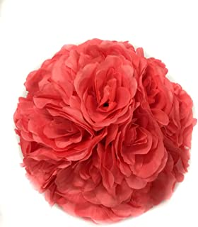 Ben Collection 10 Pack of Fabric Artificial Flowers Silk Rose Pomander Wedding Party Home Decoration Kissing Ball Trendy Color Simulation Flower (Coral, 25CM)