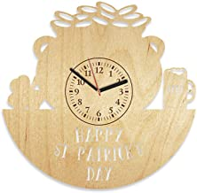 Kovides St. Patrick's Day Wooden Clock Gift for Man and Woman Unique Gift Idea for Dad Happy Patrick's Day Wooden Wall Clock 12 Inch Gift for Husband (Yellow)