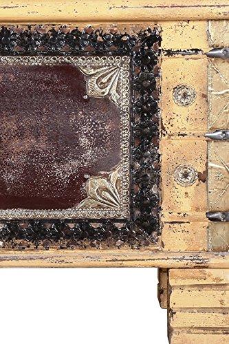 Orientalische Truhe Kiste aus Holz Chayma 80cm groß | Vintage Sitzbank mit Aufbewahrung für den Flur | Aufbewahrungsbox mit Deckel im Bad | Betttruhe als Kissenbox oder Deko im Schlafzimmer - 4