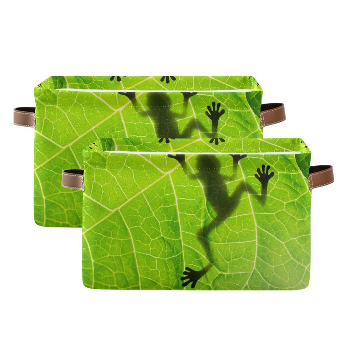 WXLIFE Storage Basket Bombing free shipping Bins Tropical La free Frog Shadow Leaves Animal