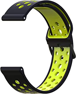 20mm Watch Band Breathable, B-Great Quick Release Silicone Band Replacement for Garmin Vivoactive 3 Music, Garmin Forerunner 245/645 Music, Michael Kors Access MKGO Smartwatch Band (Black/Lime)