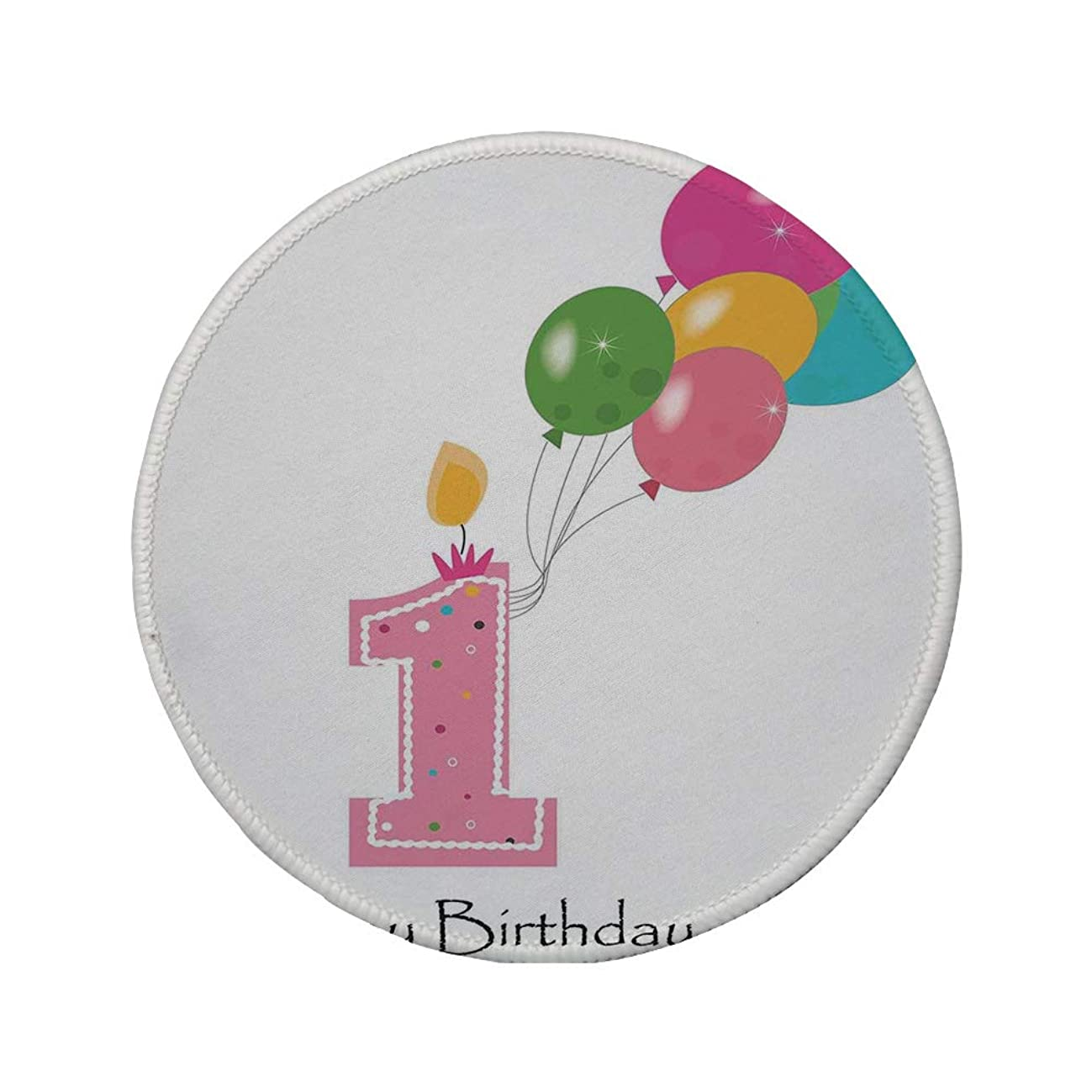 Non-Slip Rubber Round Mouse Pad,1st Birthday Decorations,Baby Girl Toddler Party Candle with Colorful Balloons,Light Pink and White,11.8