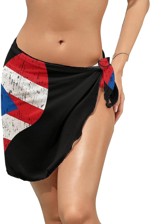 Puerto Rican Flag Por Puerto Rico Women Short Sarongs Beach Wrap Sheer Swimsuit Cover Up Chiffon Bikini Wrap Skirt