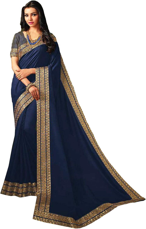 DesiButik's Party Wear Divine Navy bluee Satin Silk Saree