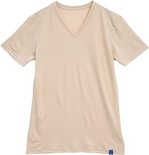 (グンゼ)GUNZE (クールマジック)COOL MAGIC 鹿の子VネックTシャツ 吸汗速乾 消臭 汗ベタ軽減(BE-ベージュ、