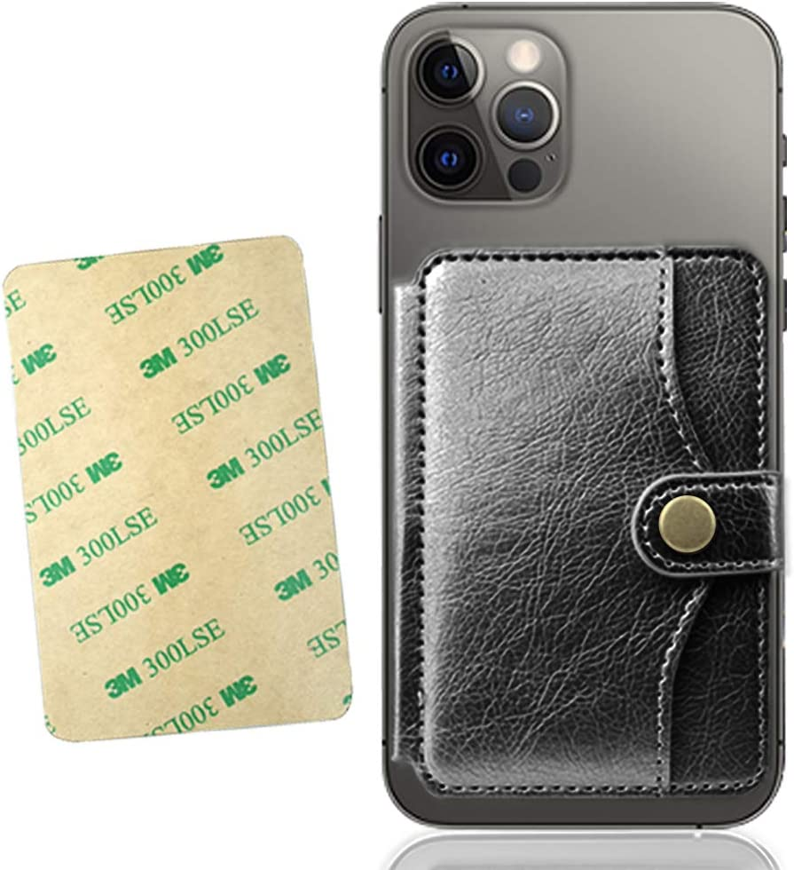 M-Plateau 2021 New Sticky Wallet for Back of Phone,Slim 3M Adhesive Credit Card Holder for Cell Phone.for iPhone 12 & iPhone 12 Pro 6.1 Inches/one Plus 8T/Samsung Galaxy and Most Smartphones (Black)
