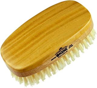 Kent MS23D Finest Men's Military Style Dual Timber Hair Brush - Satin Wood and Beech Wood Base, with Soft, Pure White, Natural Boar Bristle. Ideal for Fine or Thinning Hair, Sensitive Scalps