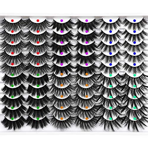 JIMIRE 30 Pairs False Eyelashes 6 Styles Mixed Lashes Pack 16-20mm Long Fluffy Fake Lashes 3D Wispy Volume Faux Mink Lashes for Variety Makeup