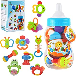 WISHTIME Baby rattles teethers for Newborn Toys,Gifts for Infants 11pcs with Hand Development Rattle Toys and Giant Bottle...