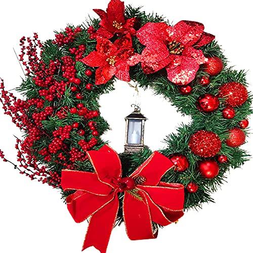Weihnachtskranz Tür außen Deko 38CM,Weihnachtsmann Türkranz Adventskranz Schneemann Weihnachten Kranz Dekokranz Hängende Wand Verzierung Weihnachtskugelnkranz Fenster Dekoration Weihnachts Zubehör