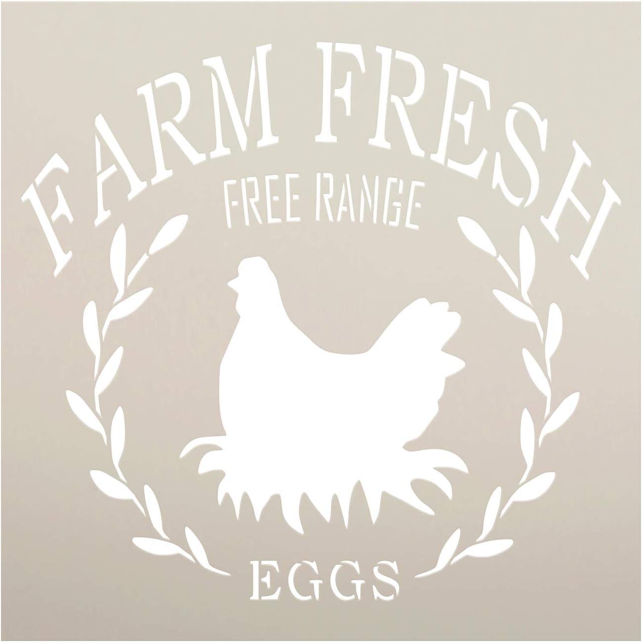 Amazon Com Farm Fresh Free Range Eggs Stencil By Studior12 Diy Chicken Laurel Wreath Home Decor Craft Paint Wood Sign Reusable Mylar Template Rustic Kitchen Barn Select