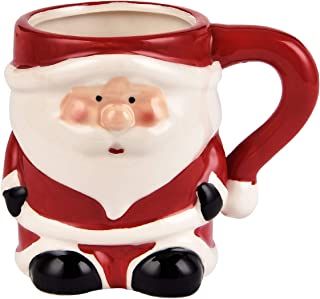 3D Santa Claus Coffee Mug Christmas Holiday Ceramic Mug Christmas Festival Holiday Gifts For Children Friends 12 ounce(Red & White)