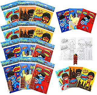 Supherhero Coloring Books for Kids with 12 Coloring Books and 48 Crayons, Fun Superhero Treats Party Favors, Superhero Pri...
