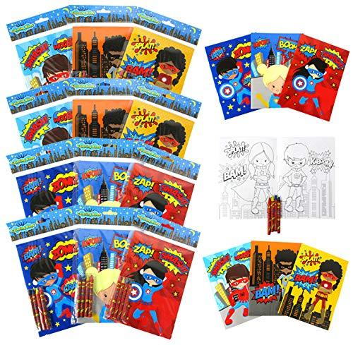 Supherhero Coloring Books for Kids with 12 Coloring Books and 48 Crayons, Fun Superhero Treats Party Favors, Superhero Prizes, Favor Bag Filler, Superhero Party Supplies