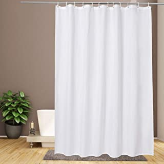 EurCross Shower Curtain Liner 72 x 80 inches Long, Water-Repellent Weighted Bottom Solid White Fabric Shower Curtain for Bathroom