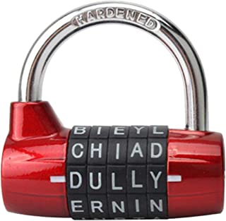 ACE unite 5 Letter Combination Lock Password Sturdy Security Padlock (Red)