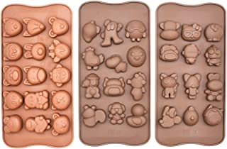 Poproo Animal Shaped Candy Mold 3-Piece Silicone Chocolate Molds Ice Cube Tray - Animal Heads, Figures, Face (Set of 3)