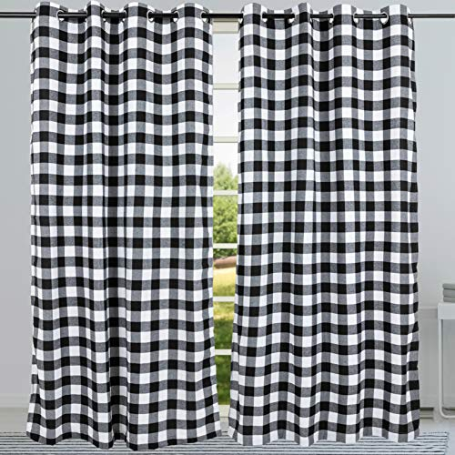 "2 Pack Buffalo Check Plaid Window Curtain Panels (52""×84"") for Living Room, Bedroom Farmhouse Courtyard Style Grommet Treatment Curtains Home Décor 52 Inch by 84 Inch (White and Black)"