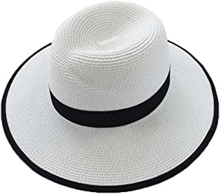 Straw Hat Beach Hat Round Cap Summer Shade Sunscreen Pure Pattern Cap Women, A