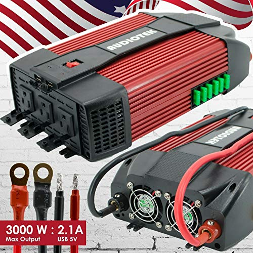 Audiotek 3000W Watt Power Inverter DC 12V AC 110V Car Converter USB Port Charger