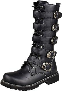 wealsex Botte Cuir Noir Lacets Boucles Botte Combat Militaire Armee Botte Rock Punk Chaussure Hiver Homme
