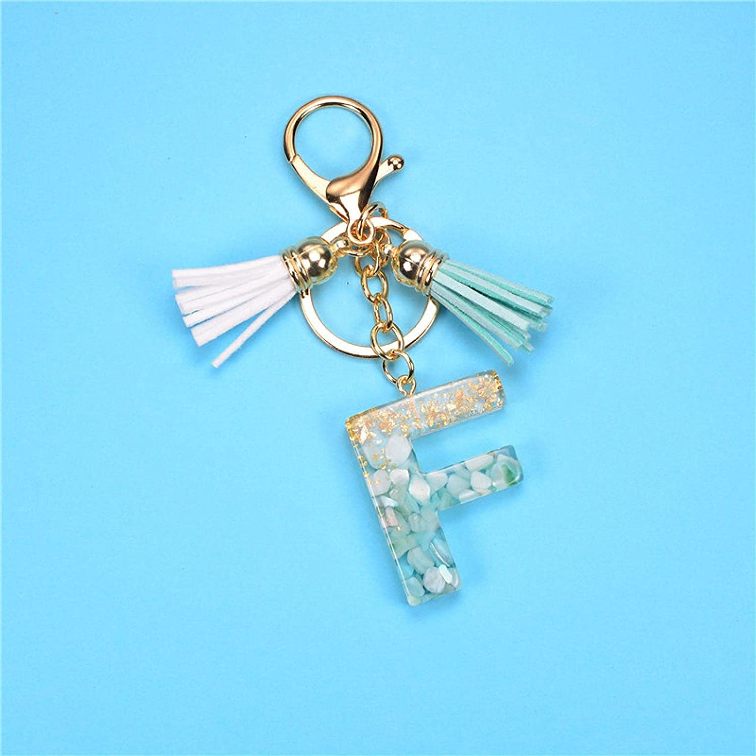 SZLGPJ Gold Green Gradient Resin Ladies Now free shipping 5 ☆ popular A-Z Keychain Letter Hand