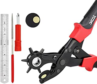 Revolving Punch Plier Kit, XOOL Leather Hole Punch Set for Belts, Watch Bands, Straps, Dog Collars, Saddles, Shoes, Fabri...
