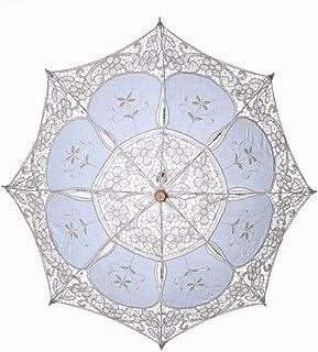 Wedding Umbrellas, Embroidery Lace Parasol Summer Umbrella for Bridesmaid Bridal Wedding