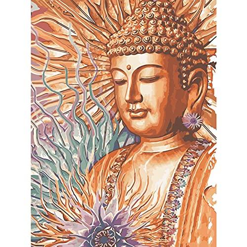 WACYDSD Pintar por Números Buda De Oro Pintura Al Óleo Pintada A Mano DIY para Las Ilustraciones Caseras De La Decoración De La Pared Sin Marco