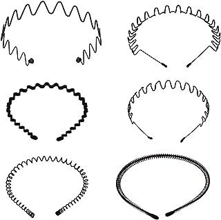 Bleiou 6 Pcs Black Metal Hair Band Spring Wavy Unisex Hoop Girl Men's Head Band Hair Accessory