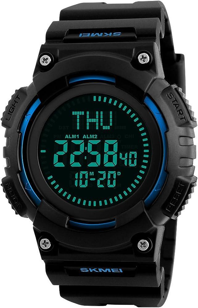 FeiWen Relojes de Pulsera de Hombre Digitales Brújula 50M Impermeable LED Electrónica Multifuncional Plástico Bisel con Goma Correa Outdoor Militar Deportivo Reloj
