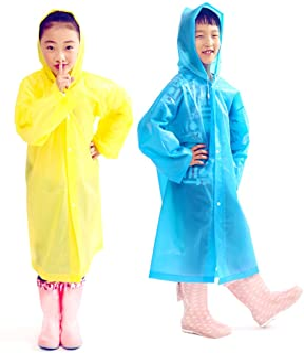 2Pcs Kids Portable Reusable Rain Poncho Children Raincoats Sporting Traveling