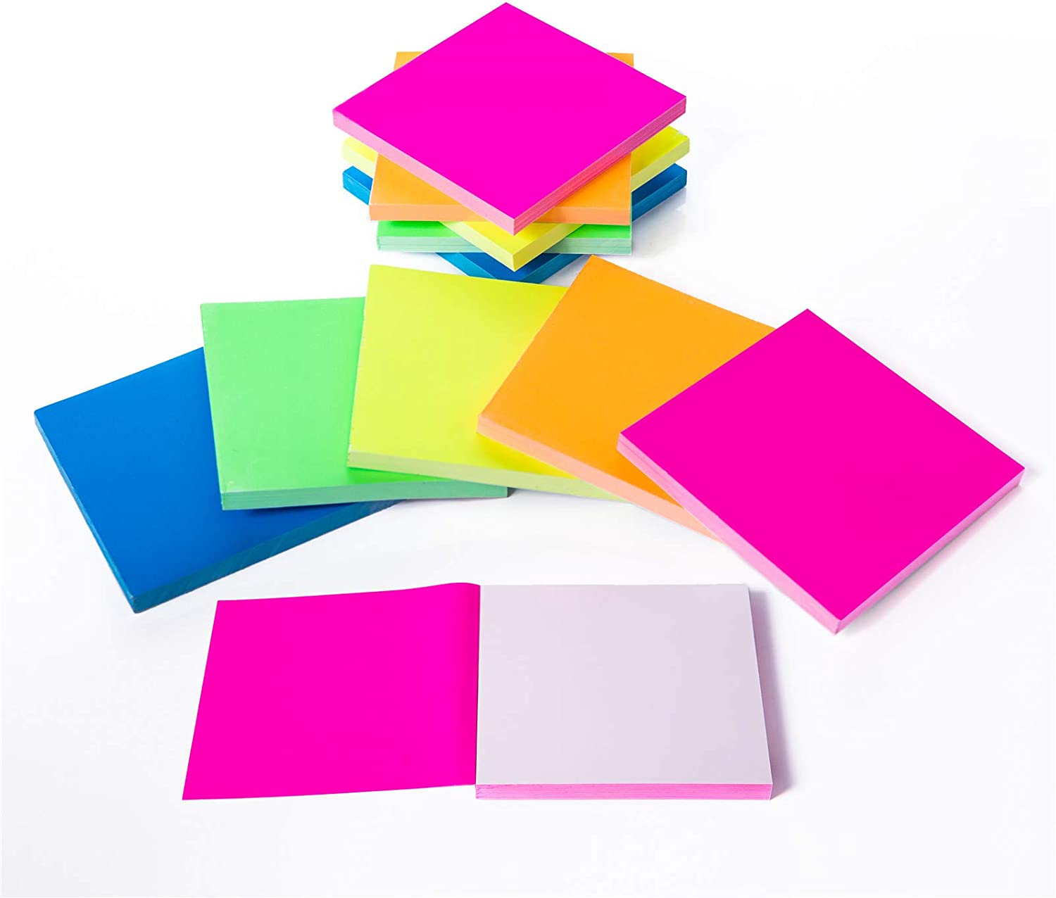 Sticky Notes 3x3 inches,Five Colors Glue Free Static Cling Sticky Notes,Waterproof Self-Stick Pads,Easy to Post for Studying,Office, School, and Home 100 Sheets/pad