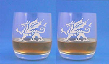 Pair of Stolze Weinland Whisky Glasses With Welsh Dragon Design