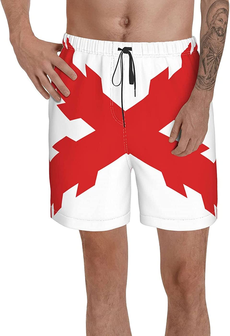 Cross of Burgundy Flag Men's 3D Printed Funny Summer Quick Dry Swim Short Board Shorts with