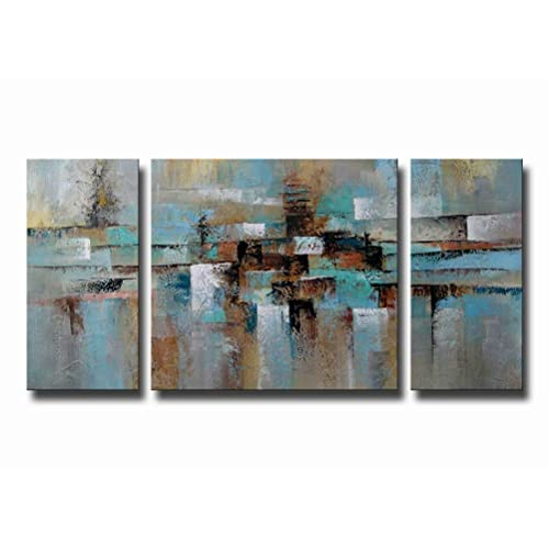Modern Brown And Turquoise Canvas Wall Art Amazoncom