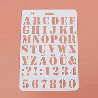 Plantillas de plástico para pintar con diseño de letras y números, 27,5 x