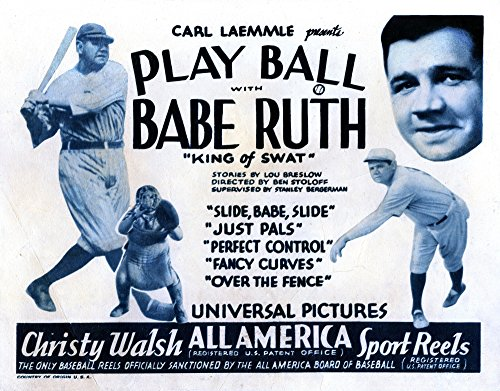 Posterazzi EVCMCDPLBAEC001H Play Ball Babe Ruth 1920 Movie Poster Masterprint, 14 x 11