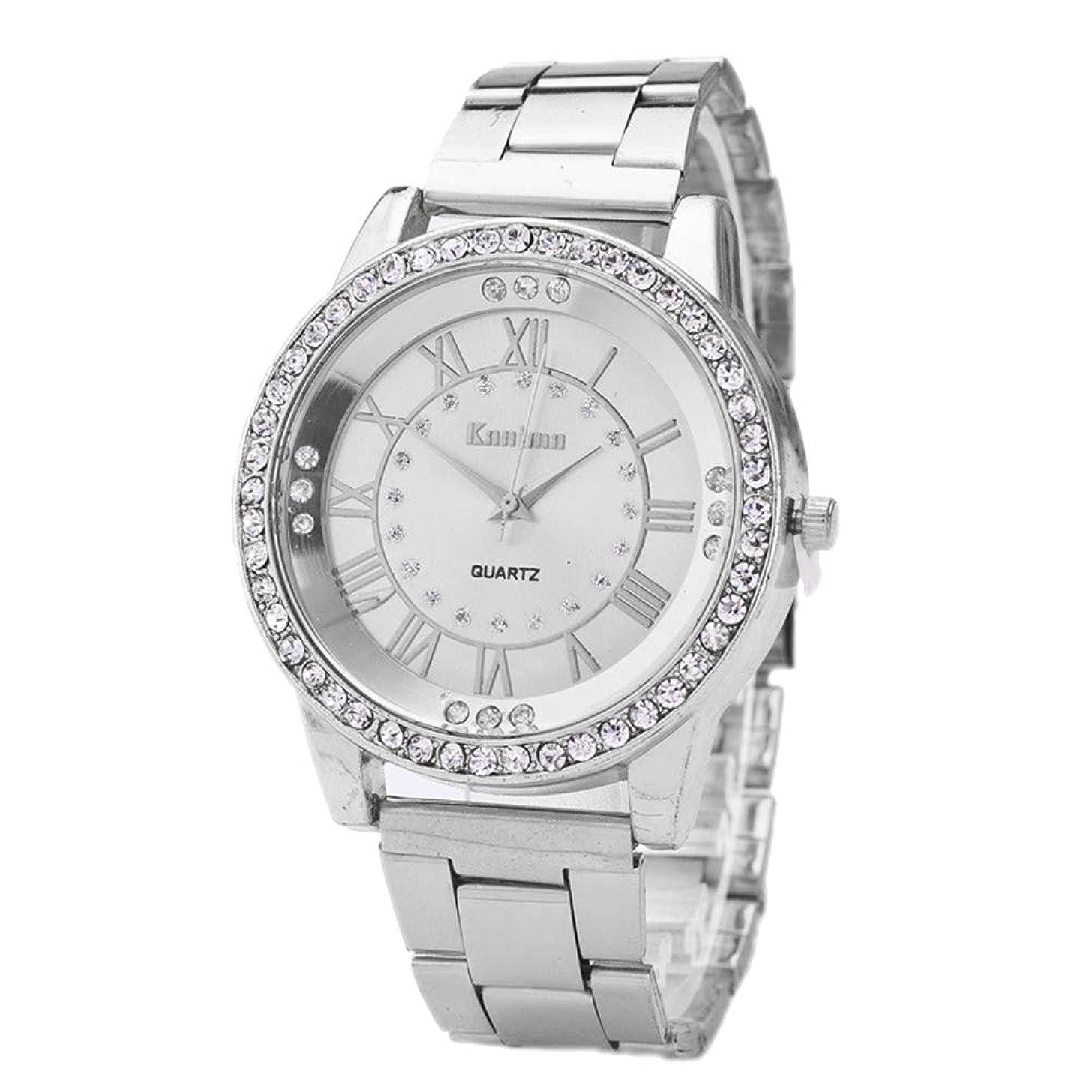 lightclub Women Roman Numerals Rhinestone Index Alloy Band Round Dial Quartz Wrist Watch for Women Men Silver