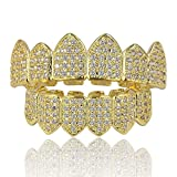 JINAO 18K Gold Plated Top and Bottom Mouth Grill Teeth Macro Pave CZ Iced Out Diamond Grillz for Men Women with Extra Molding Bars Included (Gold Set)