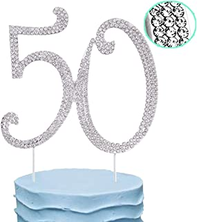 50th Cake Topper Rhinestone Birthday Wedding Anniversary Party Diamond Number Cake Decoration Perfect Keepsake, Silver