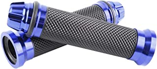 Ugthe 2Pc Universal Motorcycle Bike Aluminum Alloy Handle Rubber Handle 7/8'22Mm - Blue
