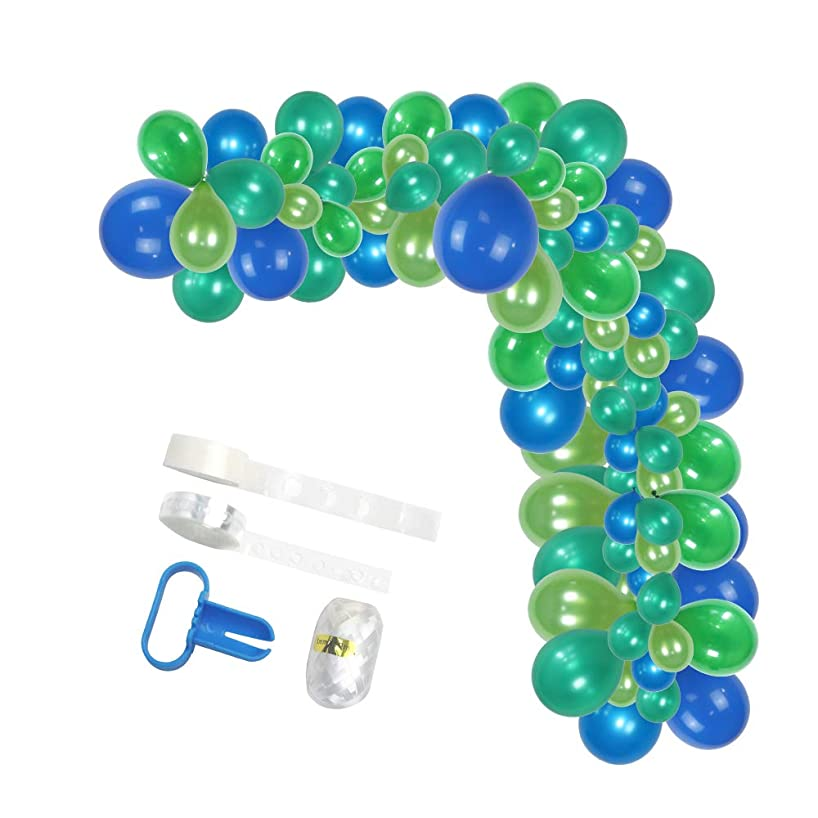 Balloon Garland Kit by Party Animal Company - Blue and Green -85 pcs -VETERAN OWNED - DIY Party Decorations - Birthday Party - Baby Shower - Weddings - Latex Balloons - Arch - Unicorn or Mermaid Theme